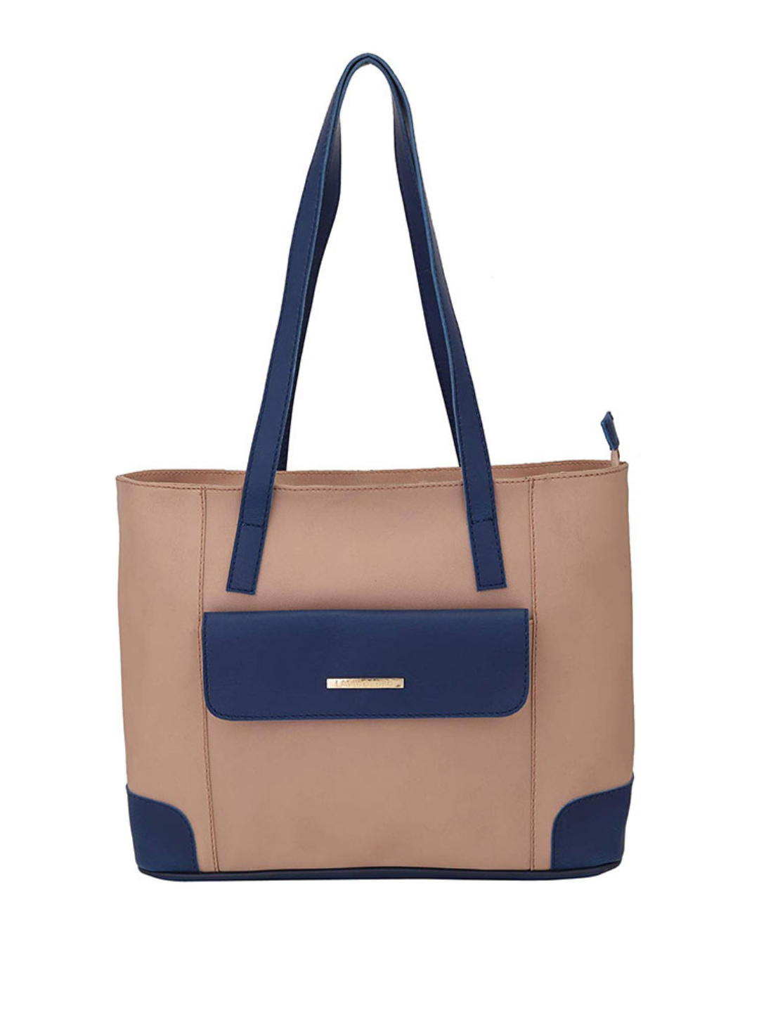 Synthetic  Front Flap Pocket Women Tote - Beige