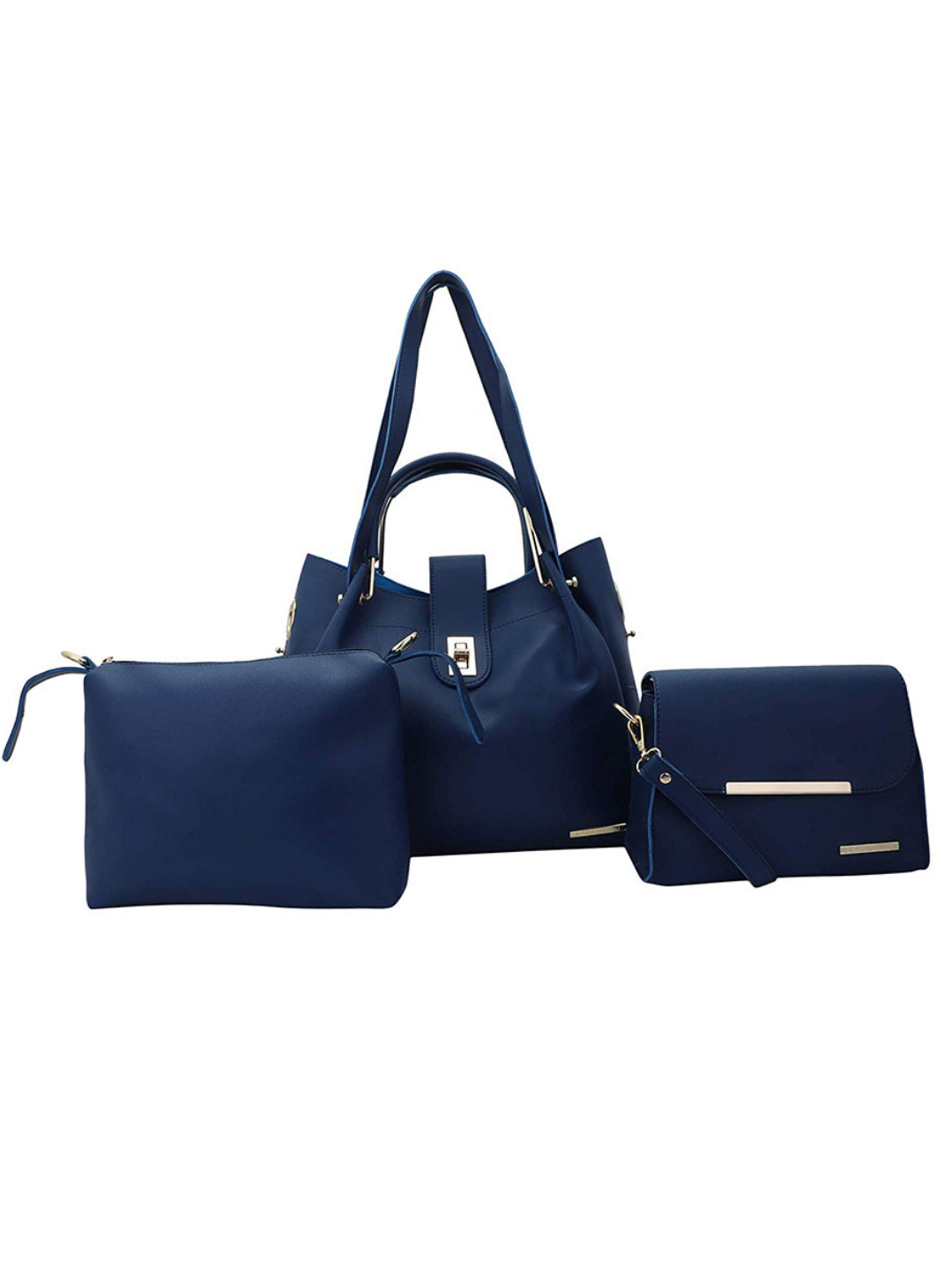 Women's Combo Synthetic Handbag, Sling Bag and Pouch - Blue