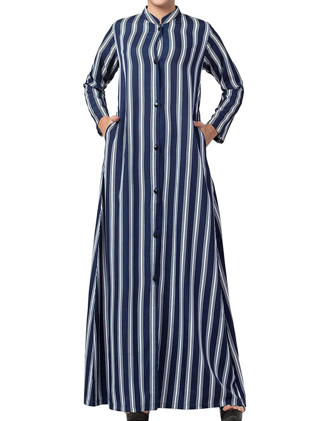 Crepe Long Abaya With Stripes  & Side Pockets In  Blue & White