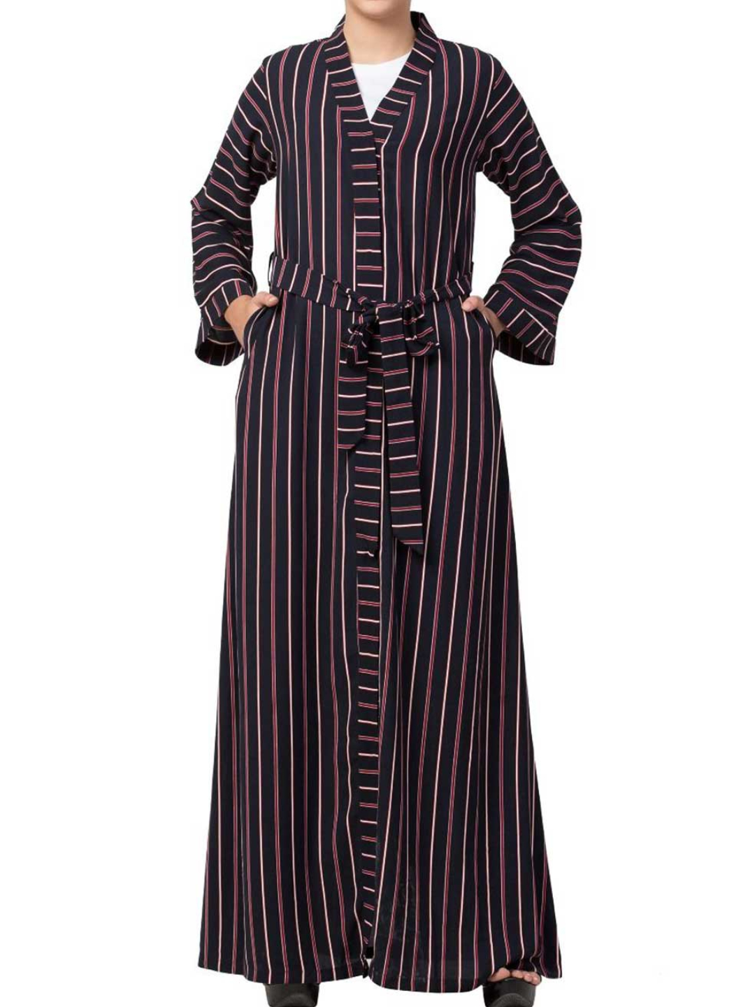 Moss Crepe Long Abaya With Stripes & Pockets and Belt In Multi Colour