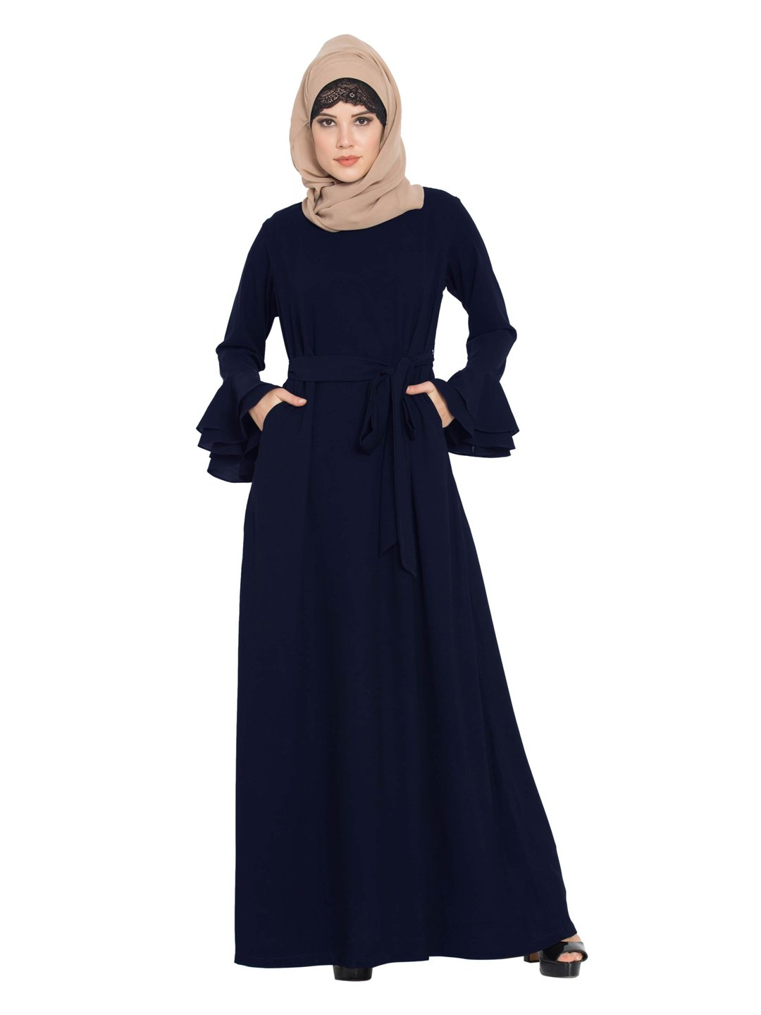 Nida Matte Abaya with Double Layers of Bell Sleeves and Matching Belt in Blue