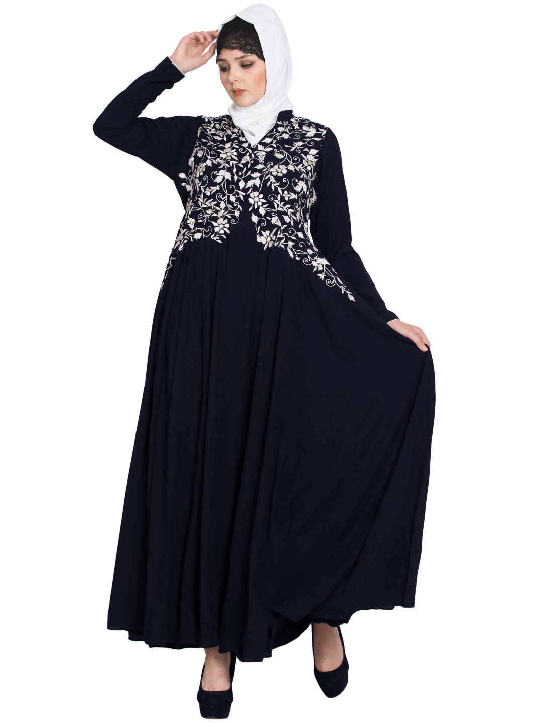 Nida Mate Designer Abaya with Embroidery and Bead in Blue and White