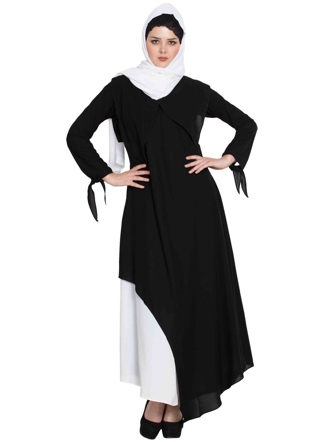 Nida Mate Elegant Abaya with Contrast Asymmetrical Layer in Black and Off White