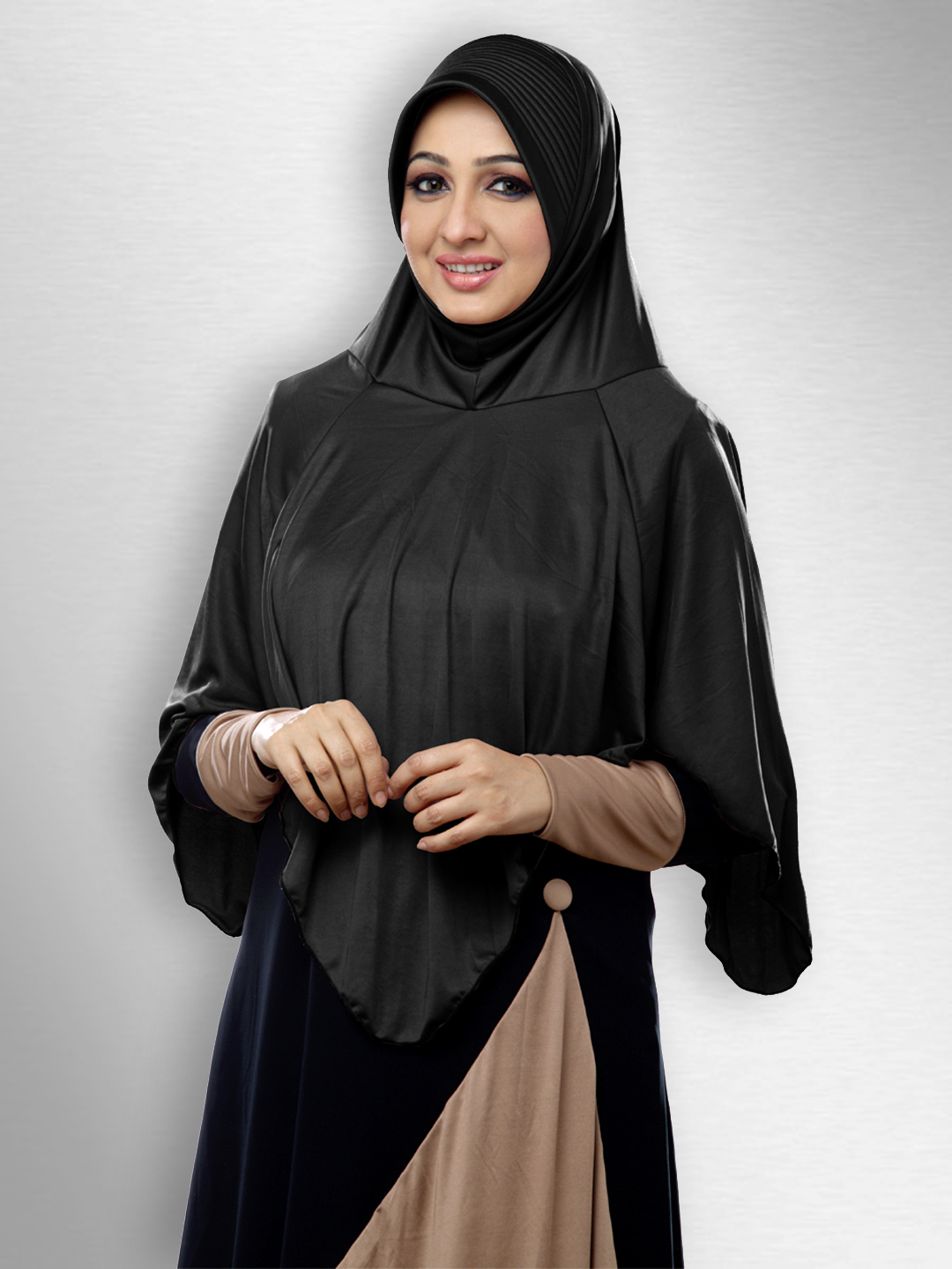 Nabah Ready to wear long covering  modest hijab In Black
