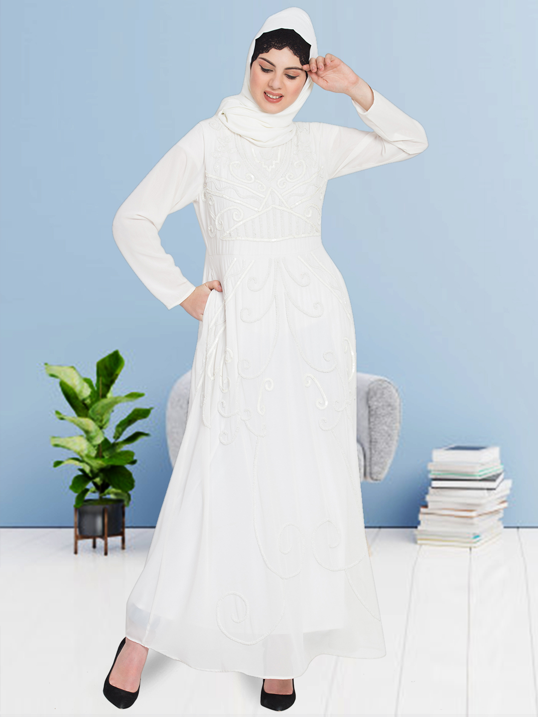100% Polyester Hand Embroidered Abaya in Off White
