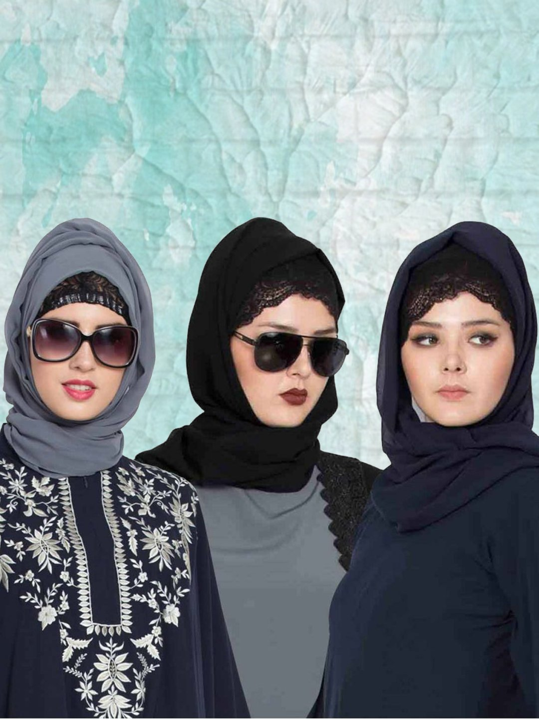 Set of Three Stole Super Fine Georgette Hijabs in Black, Navy Blue and Grey