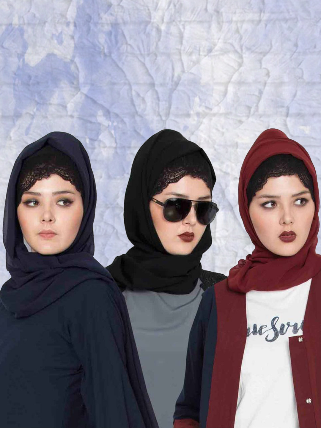 Set of Three Stole Super Fine Georgette Hijabs in Black, Navy Blue and Maroon