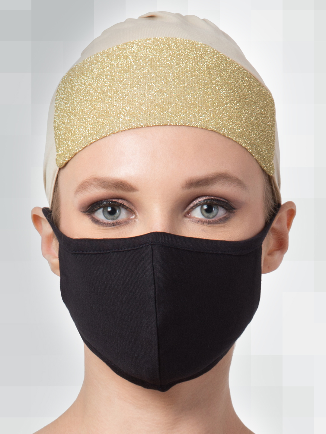 Jersey Viscose Under Hijab Shimmer Cap and Mask Combo In Beige And Black