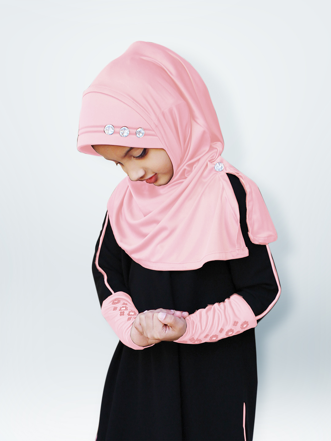Little Riya Soft Knitted Icra Fabric Hijab In Baby Pink