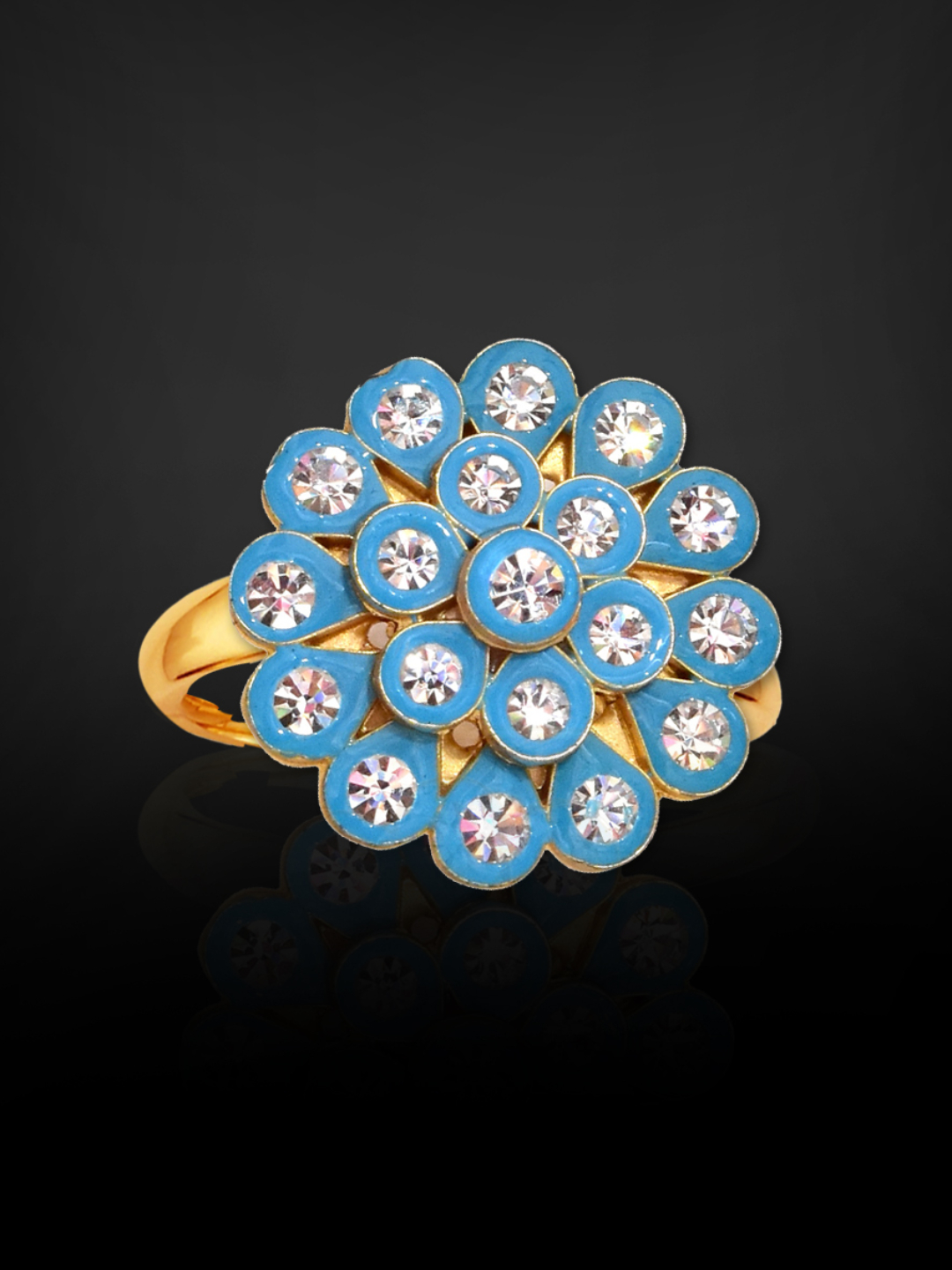 Awadhi Handmade High Quality Brass With Golden Polish Finger Rings In Sky Blue
