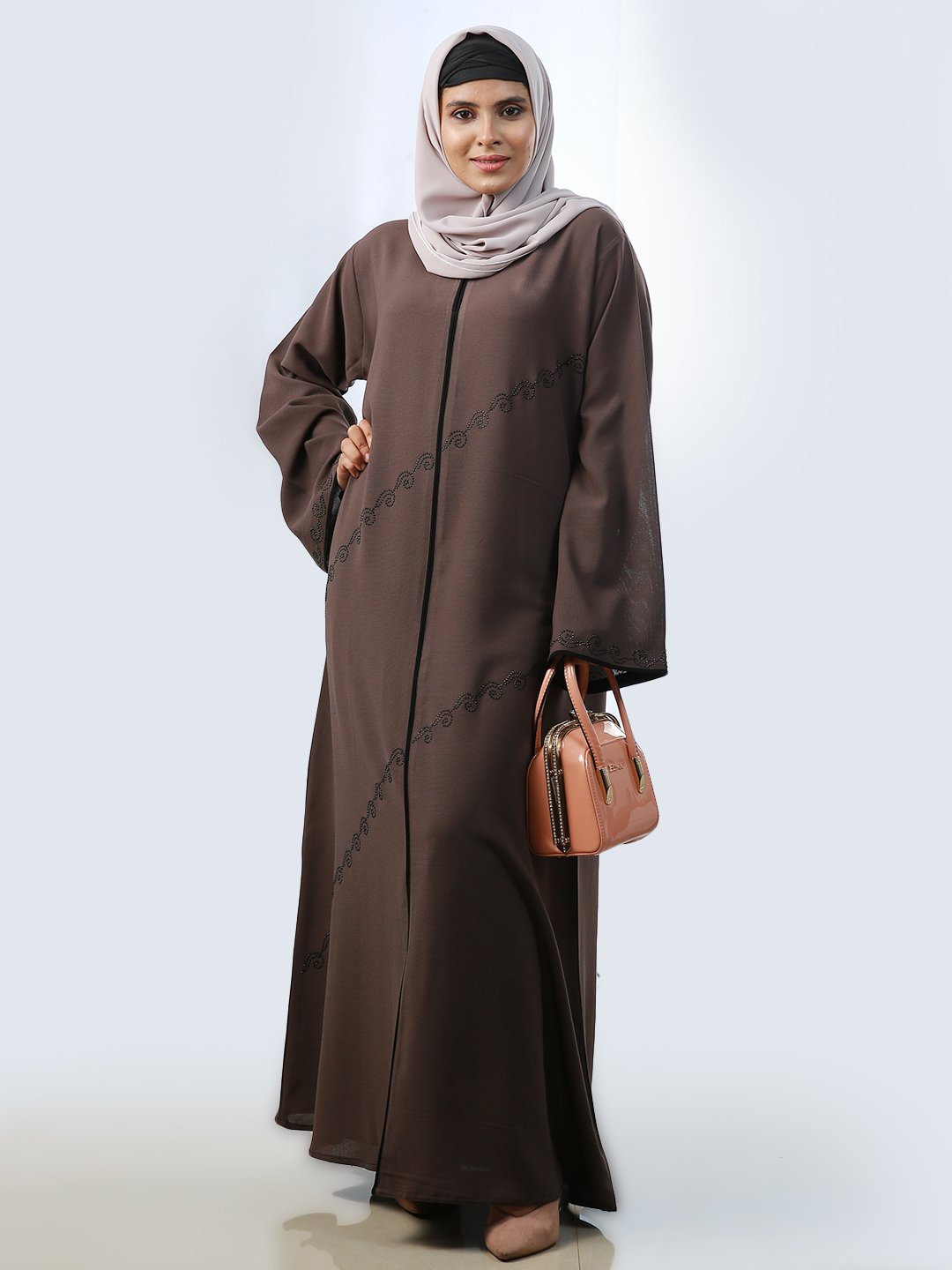 Masha Crepe Simple Free Size Abaya With Stone Work And Piping On Front And Sleeve In Brown