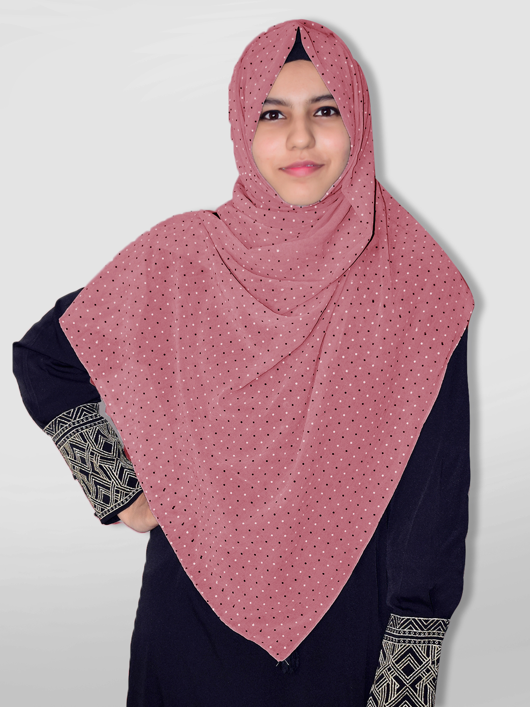 Georgette Stole With Dot Print In Puce Pink