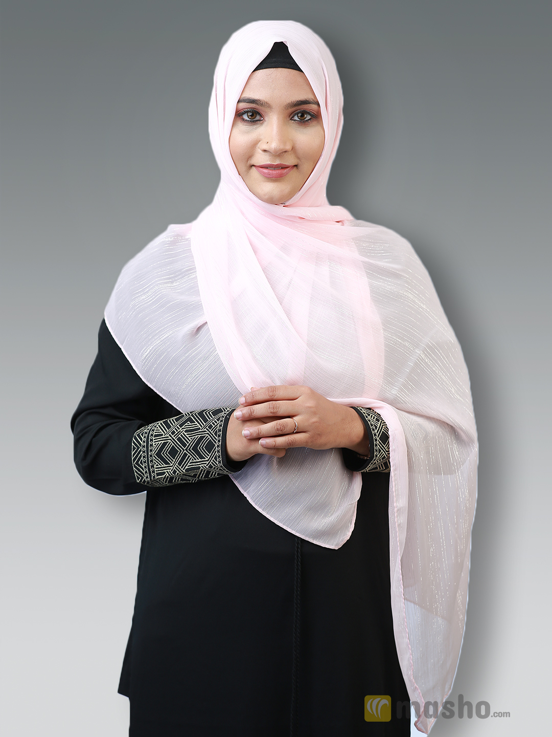 Georgette Stole With Slitted Polyester Thread Work in Baby Pink