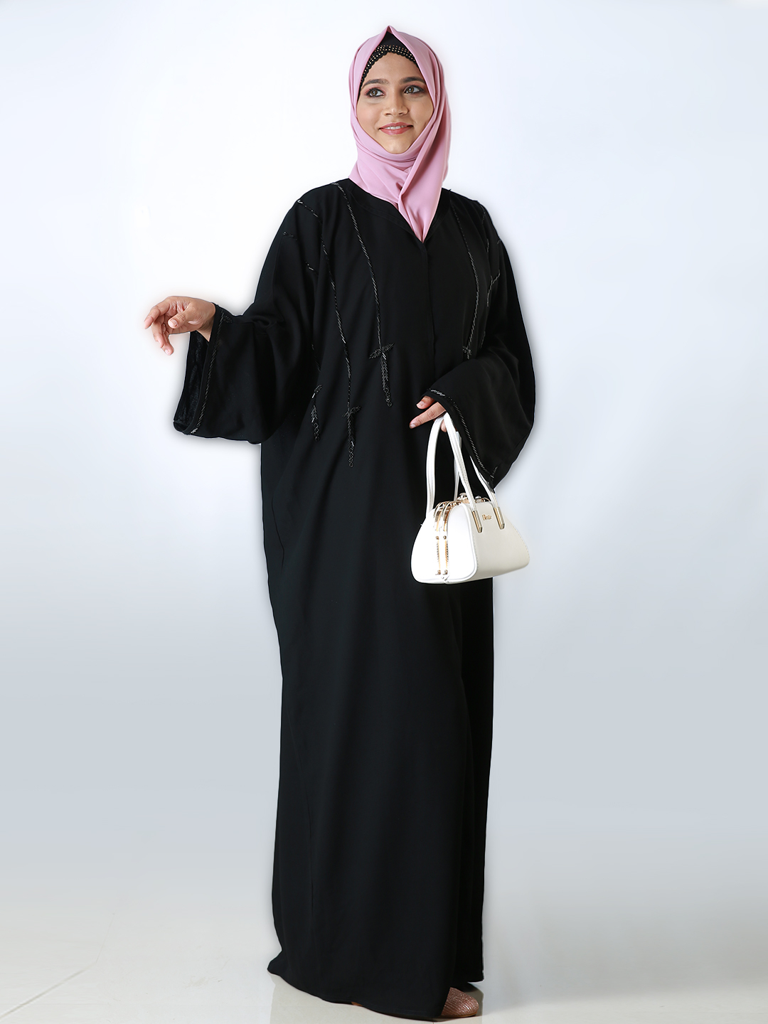 Korean Masha Crepe Front Open Free Size Abaya With Hand Work Embroidered In Black