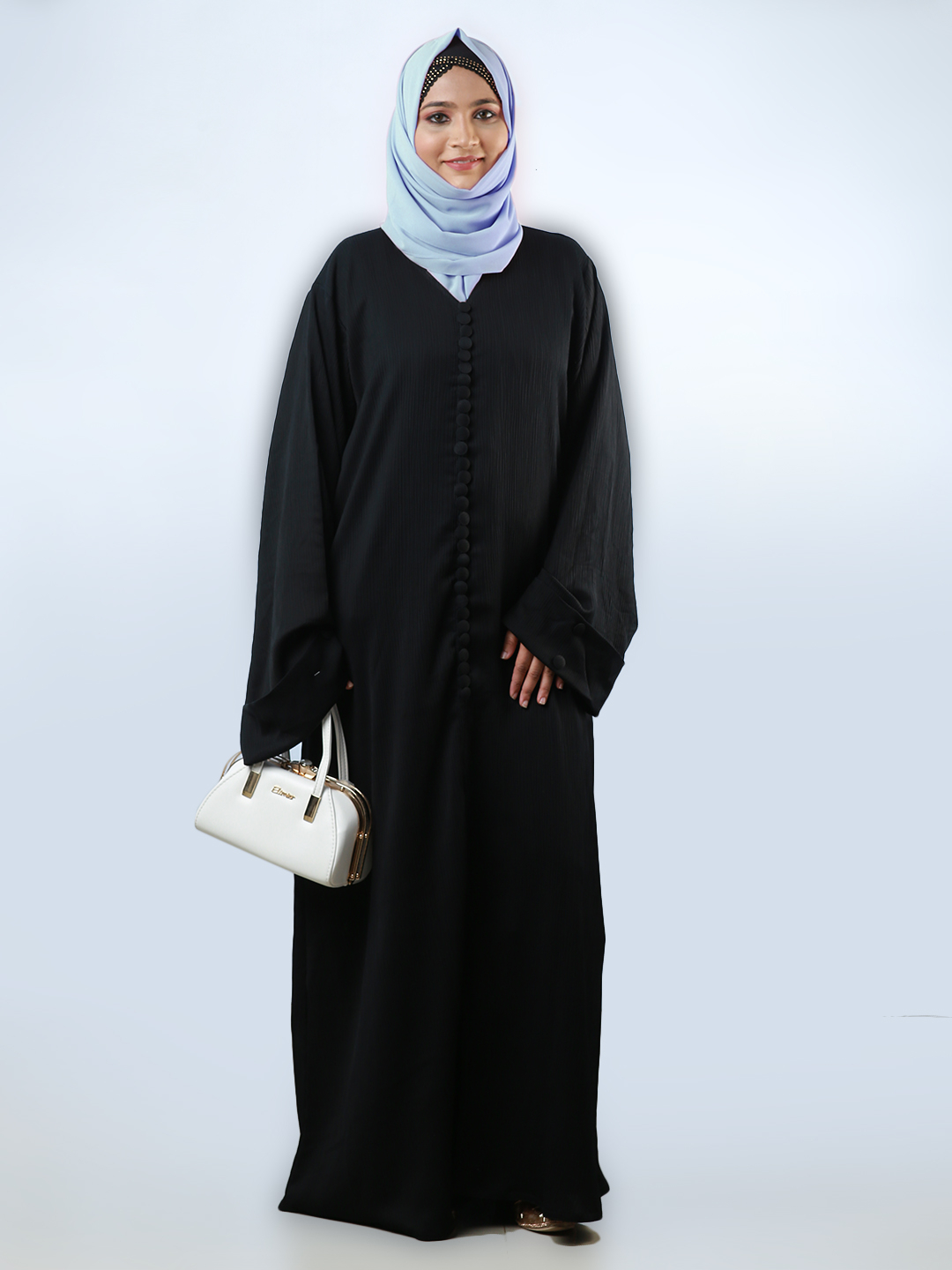 Korean Zoom Free Size Abaya Buttons On Front And Folding Sleeve in Black