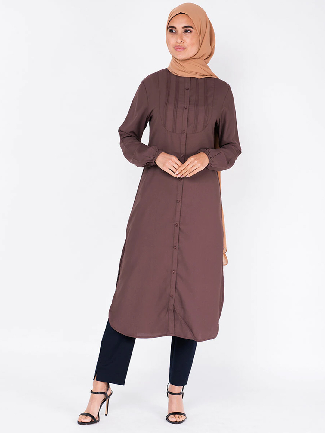 100% Polyester Midi Dress With Drawstring Sleeve In Cognac Brown