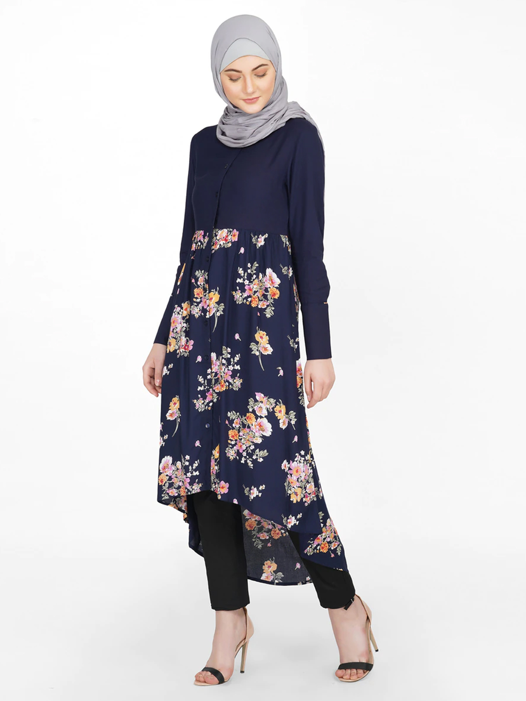 100% Rayon Shirt Dress With Solid Floral Mix In Navy