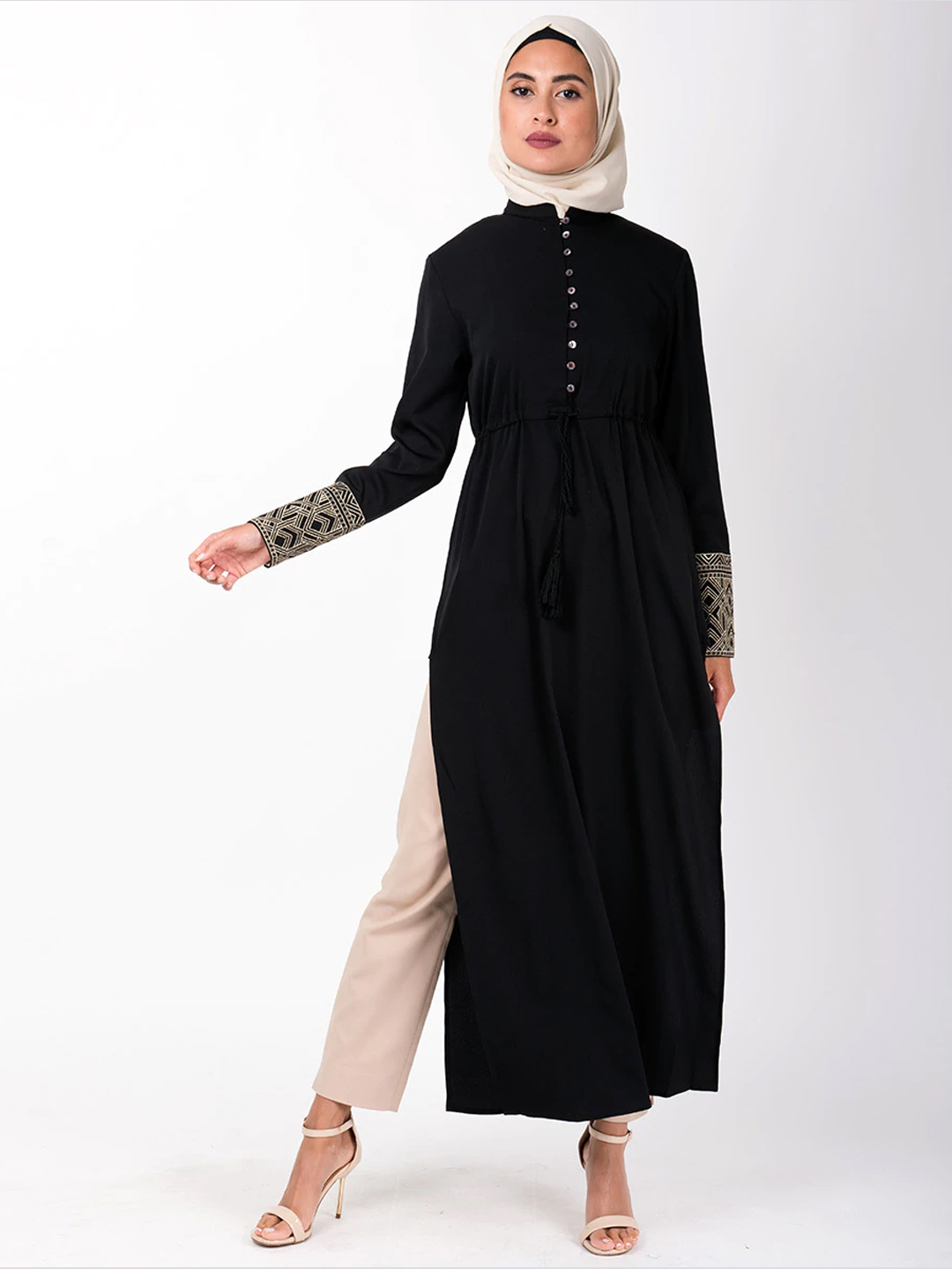 100% Rayon Midi With Long Side Slit Gathered Waist In Black