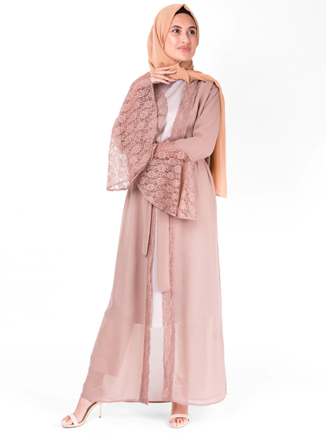 Georgette Outerwear With Lace Bell Sleeve In Puce Pink