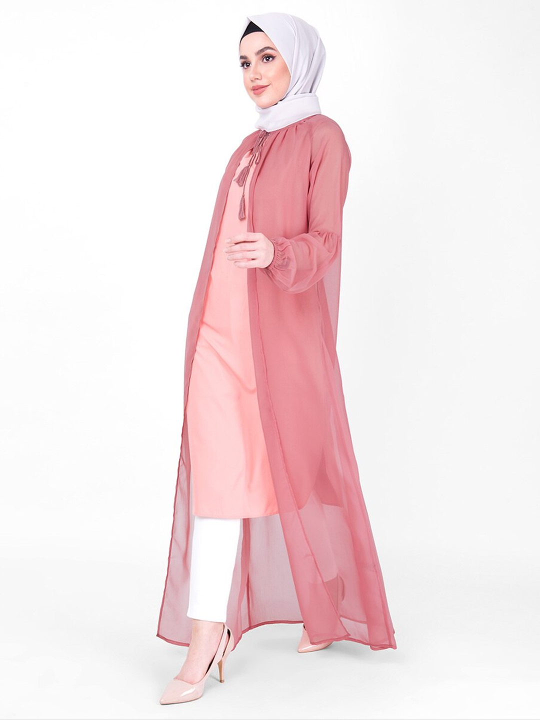100% Georgette Gathered Neck Sheer Outerwear In Pink