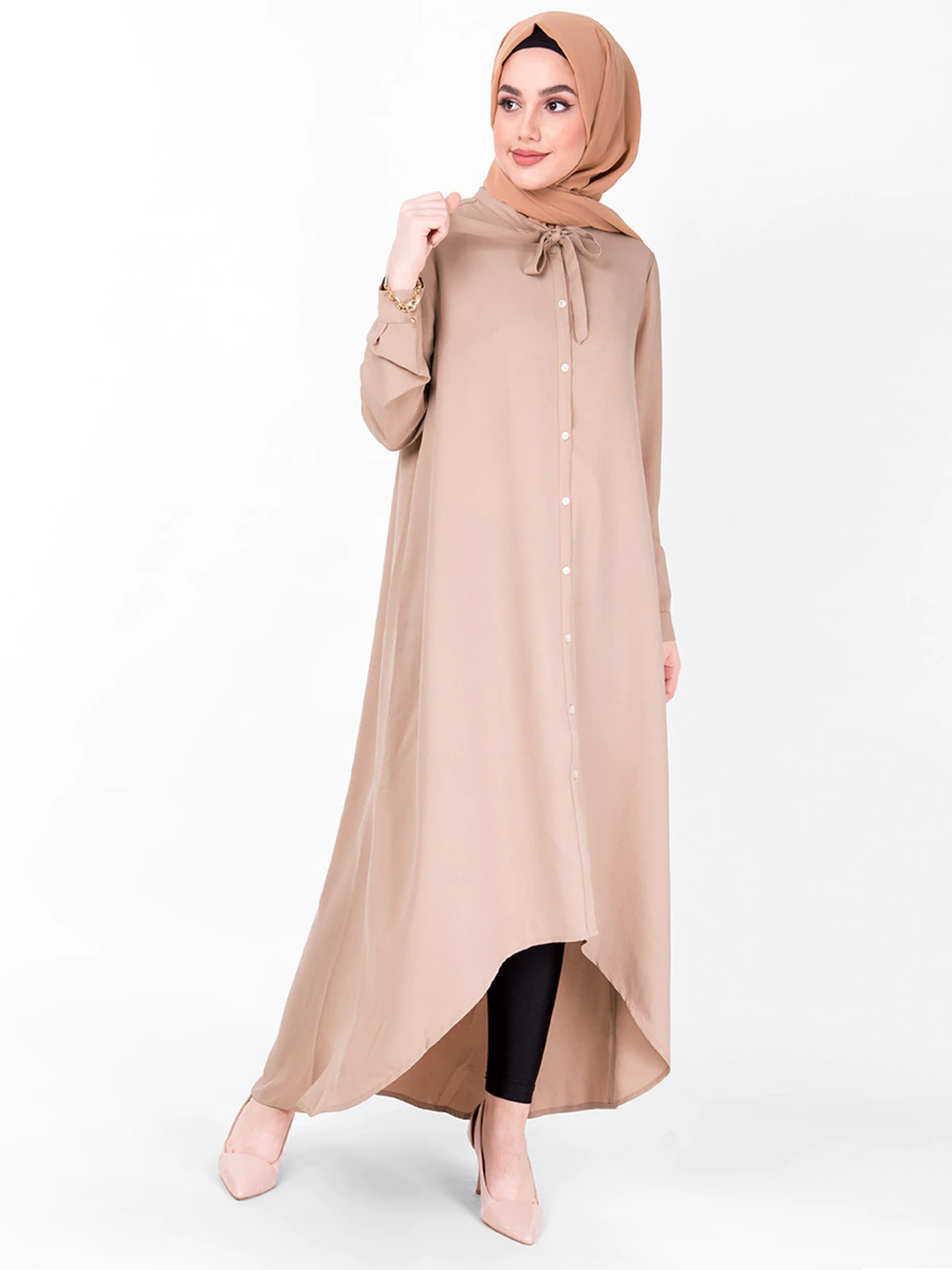 100% Polyester Tie Up High Low Shirt Dress In Beige