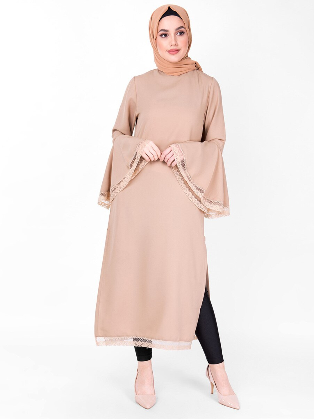 100% Polyster Midi Dress With Lace Work Bell Sleeves In Beige