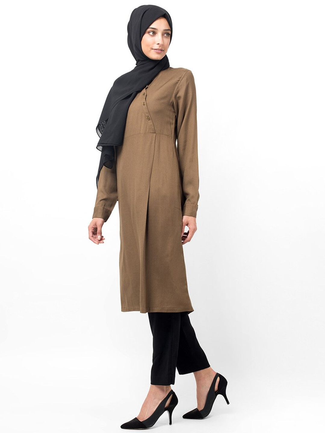 100% VIscose Midi Dress With Oriental Diagonal Button Down In Olive