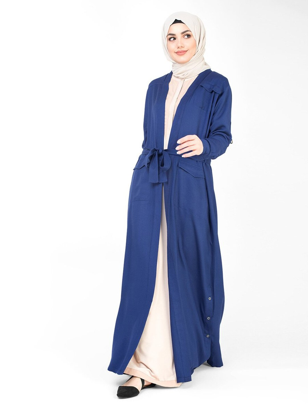 100% Viscose Outerwear With Full Length In Blue