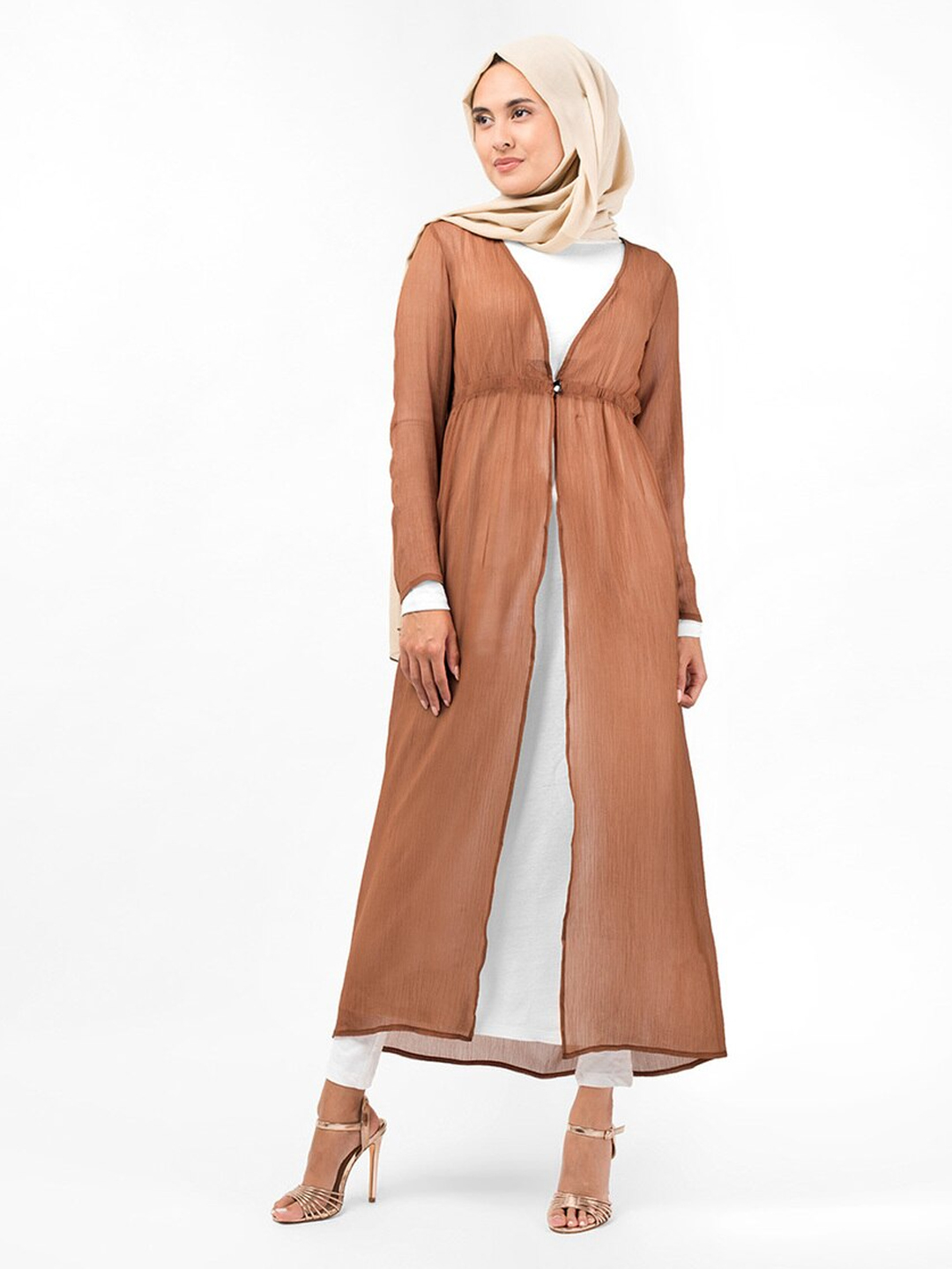100% Polyester Loop Button Outerwear In Brown