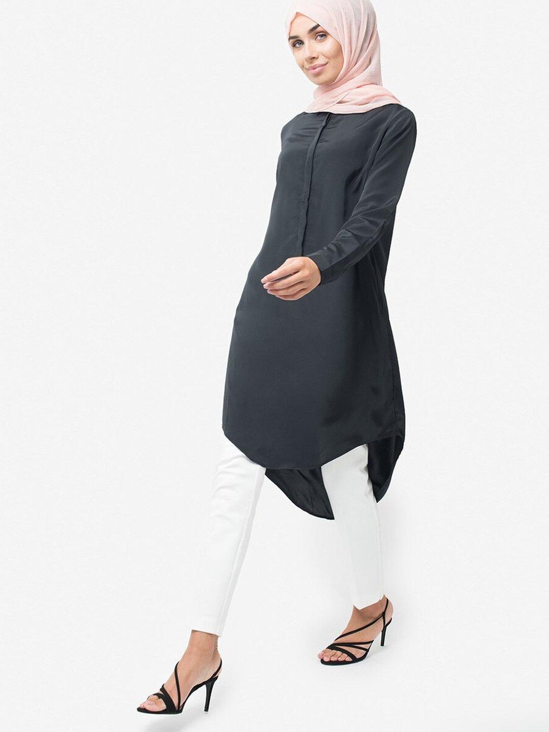 100% Polyester Shirt Midi With Dipped Hem In Black