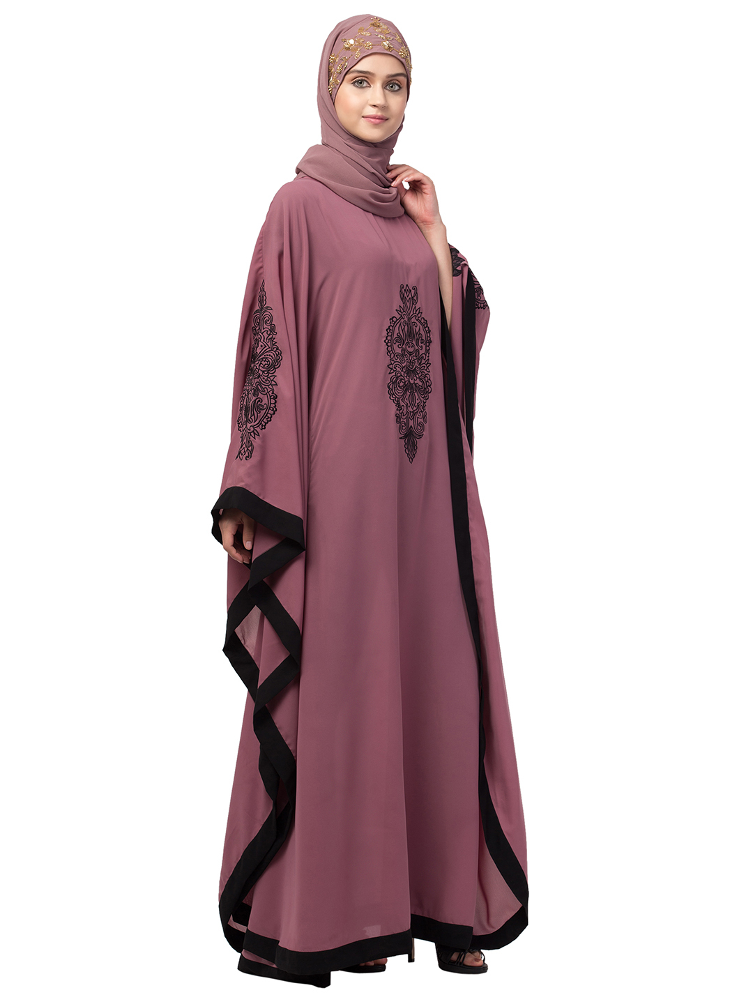 Premium Shine Nida Kaftan With Center And Sleeve Embroidery Contrast In Mauve Pink And Black