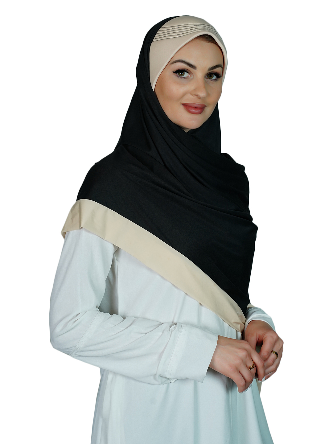 Lycra Instant Hijab In Cream And Black
