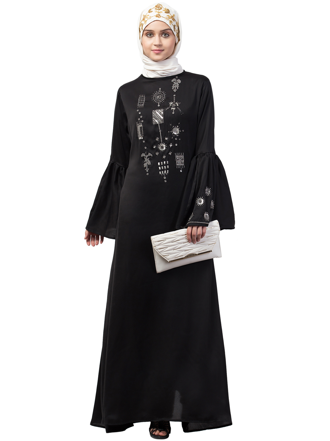 Premium Shine Nida Abaya With Hand Embroidery On Front And Bell Sleeve In Black And Silver