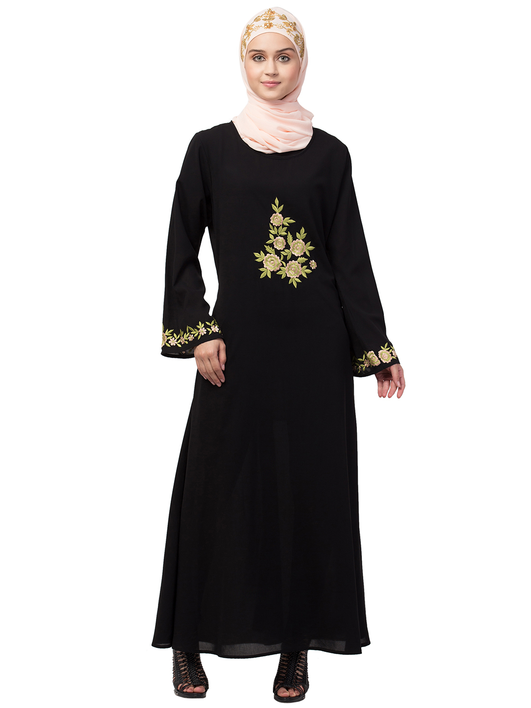 Nida Matte Abaya With Front And Sleeve Embroidery In Black