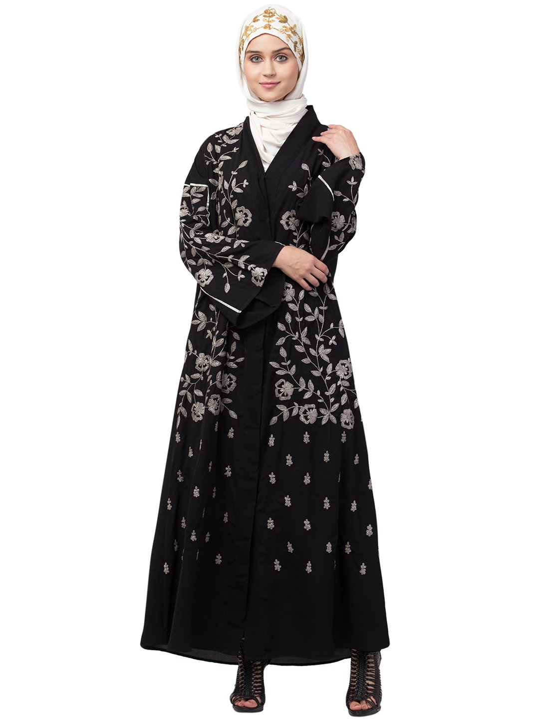 Nida Matte Front Open Abaya With Full Zari Embroidered In Black