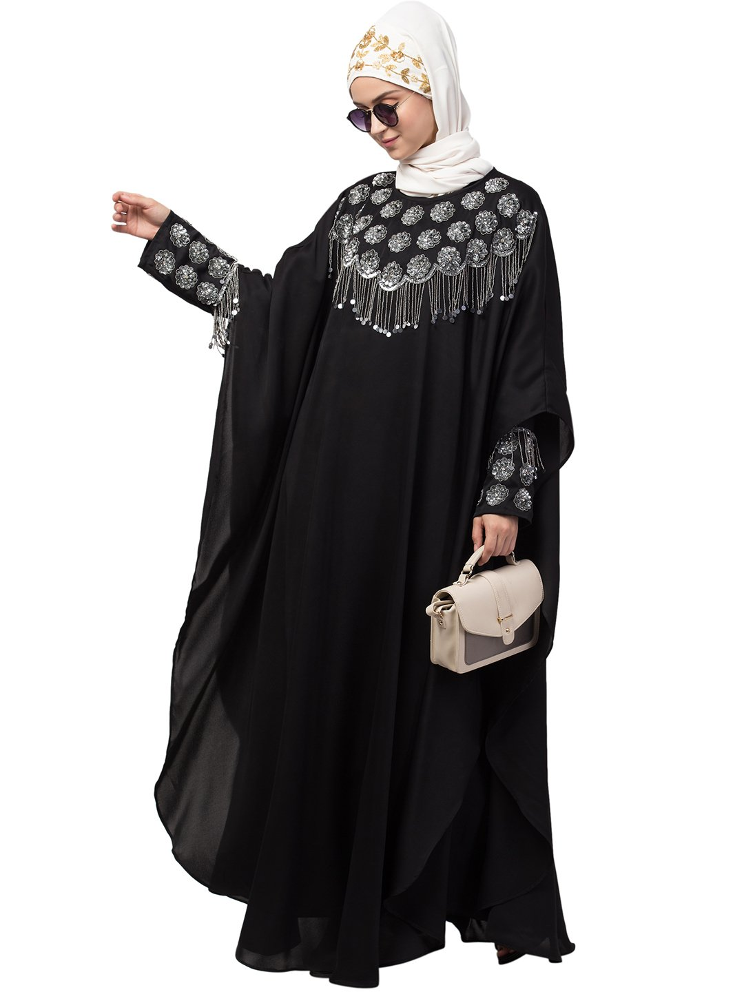 Premium Shine Nida Kaftan Cum Abaya With Double Layers Hand Embroidered In Black And Silver