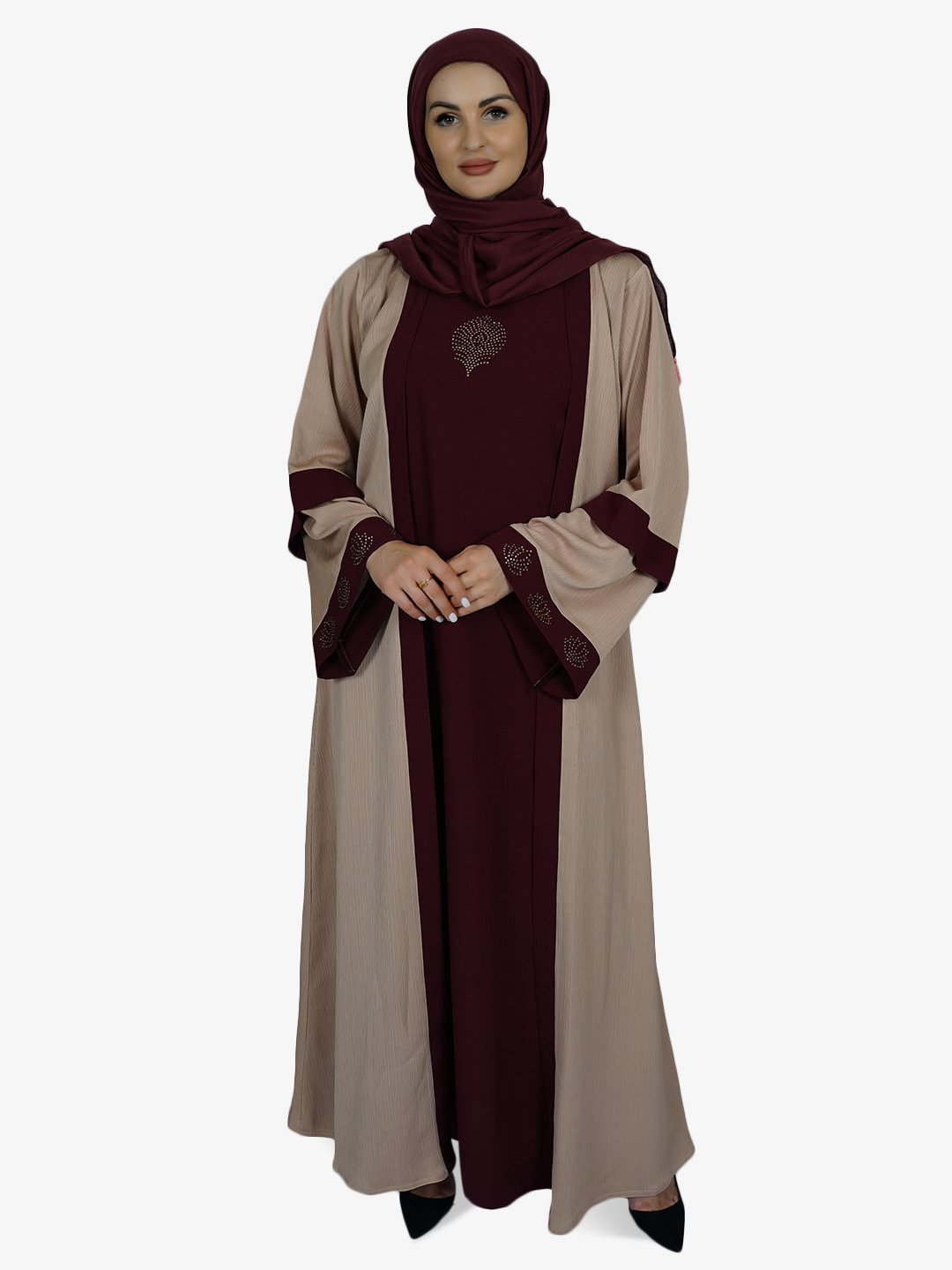 Masha Crepe Free Size Abaya With Zoom Attached Shrug In Maroon And Beige