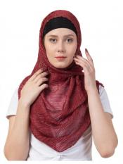 Stole for Women Crinkled Cotton Mesh Sparkling Women's Stole Maroon