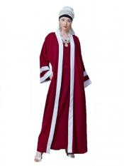 Nazneen Polyester Crepe contrast band with inner Dubai Kaftan In Red And White