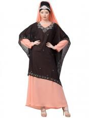 Nazneen Georgette double layer With embellished Party Abaya In Black And Peach