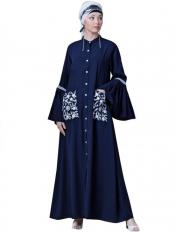 Nazneen Crepe Embroidered Pocket With Bell Sleeve casual Abaya In Navy