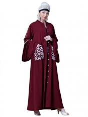 Nazneen Crepe Embroidered Pocket With Bell Sleeve casual Abaya In Maroon