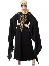 Nazneen Satin Extra Long Wings Sleeve With Embroidered Party Abaya In Black And Golden