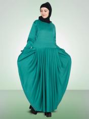 Nazneen 100% Polyester Knits Pleating at Waist Stretchable Knits Abaya in Green