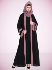 100% Polyester Crepe Dubai Kaftan Contrast Band With Inner In Black and Mauve