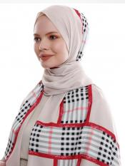 Russian Crisp Scarf Hijab With Checked Strips Print In Beige