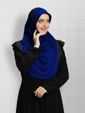 Naaz Knitted Icra Fabric Instant Hijab In Royal Blue