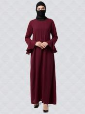 Nida Matte Abaya with Bell Sleeves in Wine