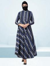 Crepe Modest Abaya With Umbrella Flare And Buttons On Yoke In Blue Multi