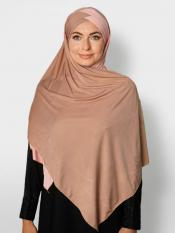 100% Polyster Lycra Turban Style Double Shade Instant Hijab In Beige And Baby Pink